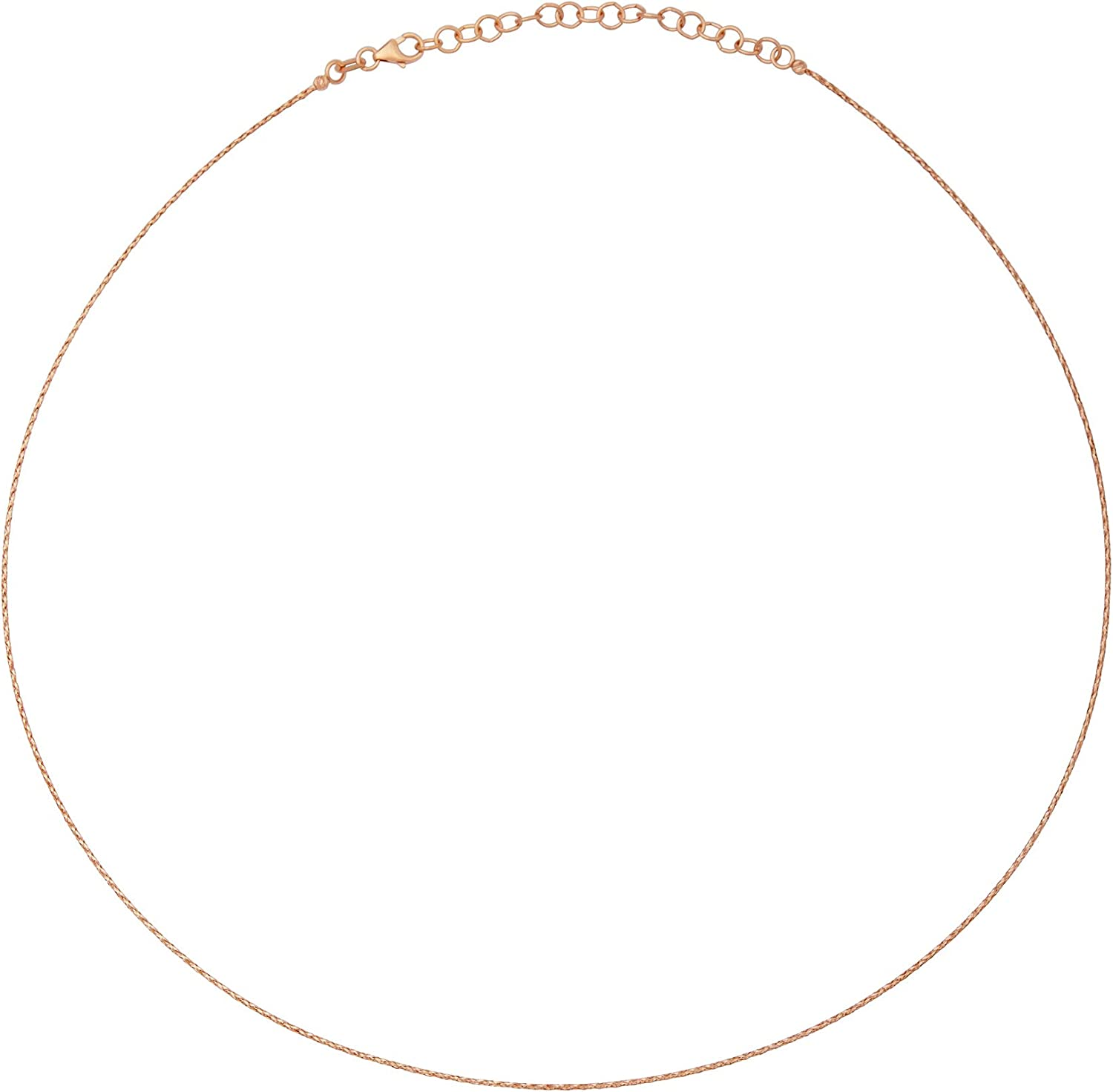 """14k Italian Rose Gold Twisted Collar Neck Wire Cable Pendant Chain Necklace .8mm, Adjustable from 16"""" - 18"""""""