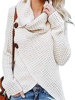 Suéter De Punto Mujer para Suéter De Cuello Alto Tamaños Cómodos Jersey De Punto Suéter De Gran Tamaño Otoño Invierno Suét...