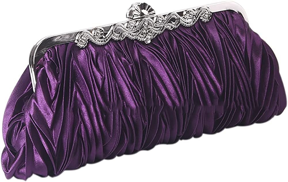 QZUnique Year-end annual account Women's Quantity limited Satin Clutch Purse Evening Pleated Crystal Hand