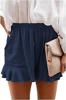 Zimaes Womens Beach Casual Pockets Loose Oversized Shorts