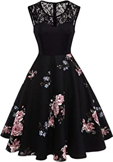 99d4d7e99cdfe8 Axoe Damen 50er Jahre Rockabilly Kleid mit Blumenmuster Ärmellos