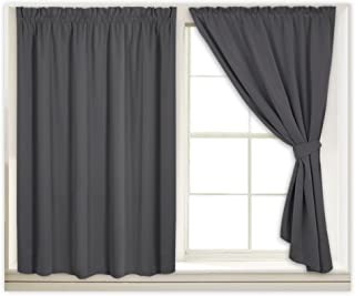 RYB HOME Blackout Curtains Pinch Pleated Window Shades Draped Curtains, Hang Without Rod Insulated Curtains with 2 Tiebacks for Bedroom/Bathroom, Wide 40 x Long 45 inch per Panel, Grey, 2 Pcs