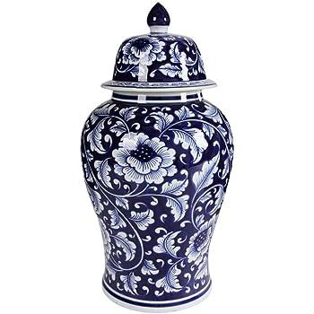 Benjara Floral Design Ginger Jar with Lid, Blue and White