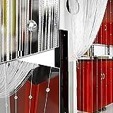 Cortina de flecos con cuentas de cristal, 1 mx2 m, separador para ventanas, tratamiento de hogar,...