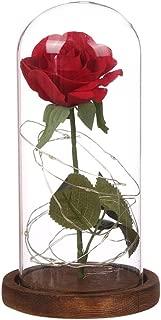 mAjglgE - Lámpara LED con forma de rosa roja artificial,