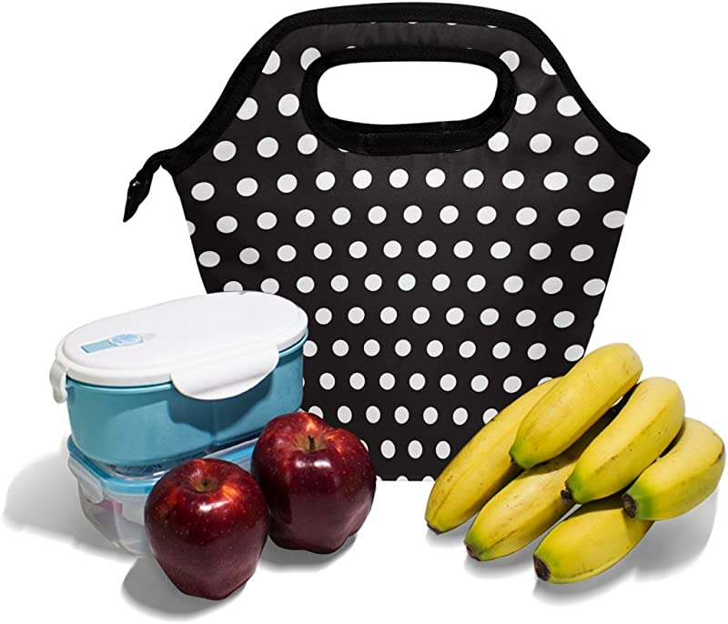AHOMY Lunch Bag Black White Polka Dot Insulated Lunch Box Picnic Canvas Tote With Zipper