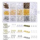 Paxcoo 1200 piezas Kit de tuercas para aretes con 15 estilos de soportes para pendientes, ganchos para pendientes y postes para aretes