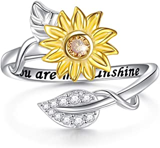 Sterling Silver You are My Sunshine Sunflower CZ Heart Ring Adjustable Size 7