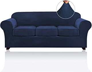 Best 4 Pieces Sofa Covers Stretch Velvet Couch Covers for 3 Cushion Sofa Slipcovers Thick Soft Sofa Slip Covers with 2 Non Slip Straps Furniture Covers with 3 Individual Seat Cushion Covers (Sofa, Navy) Review