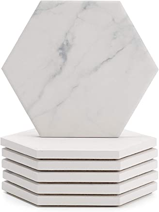Sweese 3413 White Marble Pattern Absorbing Ceramic Coasters for Drink with Cork Back,  Prevent Furniture from Dirty,  Spills,  Water Ring and Scratched,  Set of 6