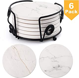 LotFancy Coasters for Drinks, 6PCS Round Absorbent Coasters with Metal Holder, Ceramic Surface with Marble Pattern, Non-Slip Cork Base, Housewarming Man Cave Decor Hostess Gifts