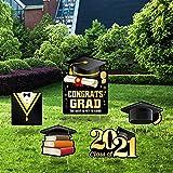 Graduation Yard Sign Decoration 2021-Outdoor Lawn Sign - Graduation Cap Bachelor Uniform Graduation Scroll Balloon-Class of 2021 Graduation Yard Sign -5PCS