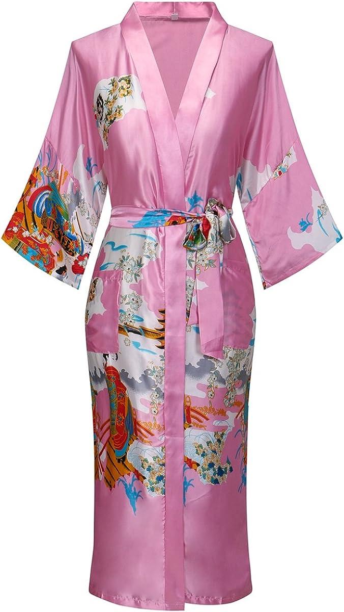 DandyChic Women's Kimono Robes Lightweight Imitation Silk Sleepwear Long Lightweight Nightgown for Women