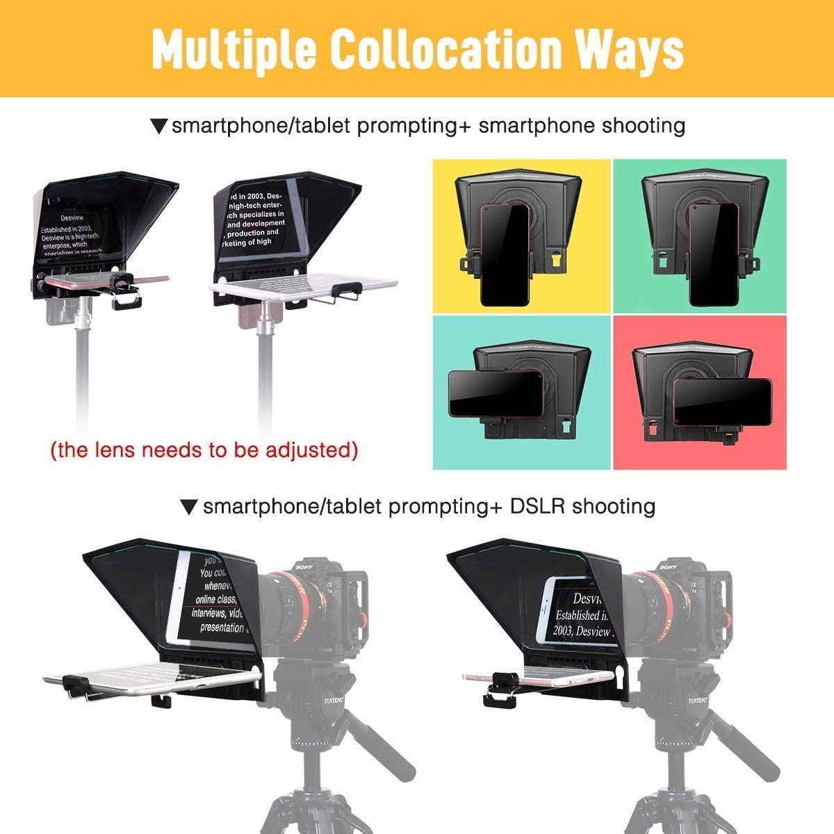 Official Dealer for Smartphone Tablet DSLR Portable Teleprompter Kit with Remote Control /& Lens Adapter Rings Desview-T2-Phone-Camera-Teleprompter