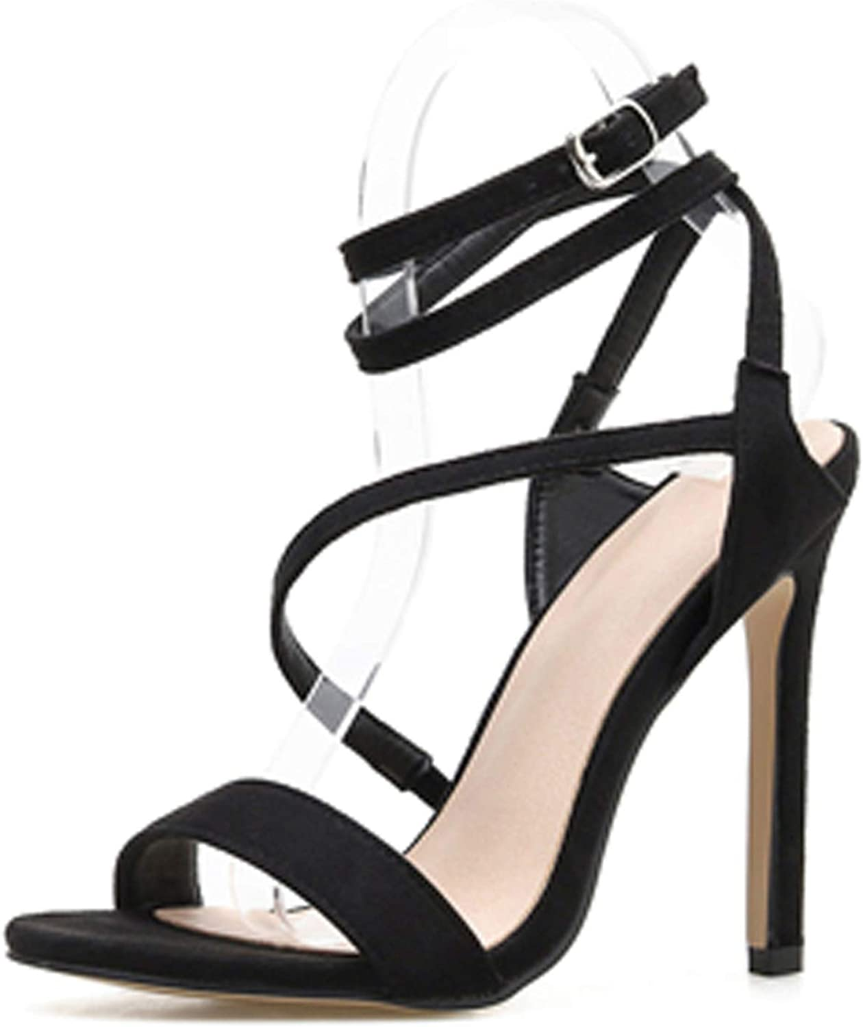 Ches 2019 Heel Gladiator Women Sandals Thin Heel Buckle Strap Rome Party shoes Black Serpentine Fashion Sandals