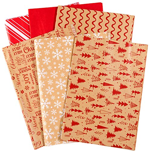 "Whaline 120 Sheet Christmas Tissue Paper Wrapping Paper Kraft Snowflake Xmas Tree Solid Design for DIY Christmas Winter Decoration, 13.78"" x 19.69"""