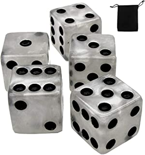 Set of (5) 16mm Dice Marbleized Standard Square Cornered with Black Velvet Cloth Pouch Bag