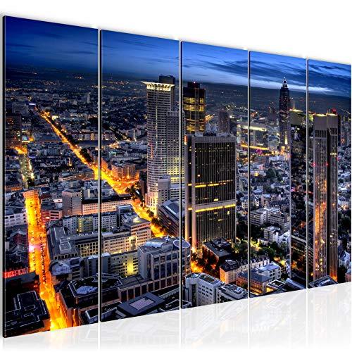 Bilder Frankfurt am Main Wandbild 200 x 80 cm Vlies - Leinwand Bild XXL Format Wandbilder Wohnzimmer Wohnung Deko Kunstdrucke Blau 5 Teilig - MADE IN GERMANY - Fertig zum Aufhängen 608955a