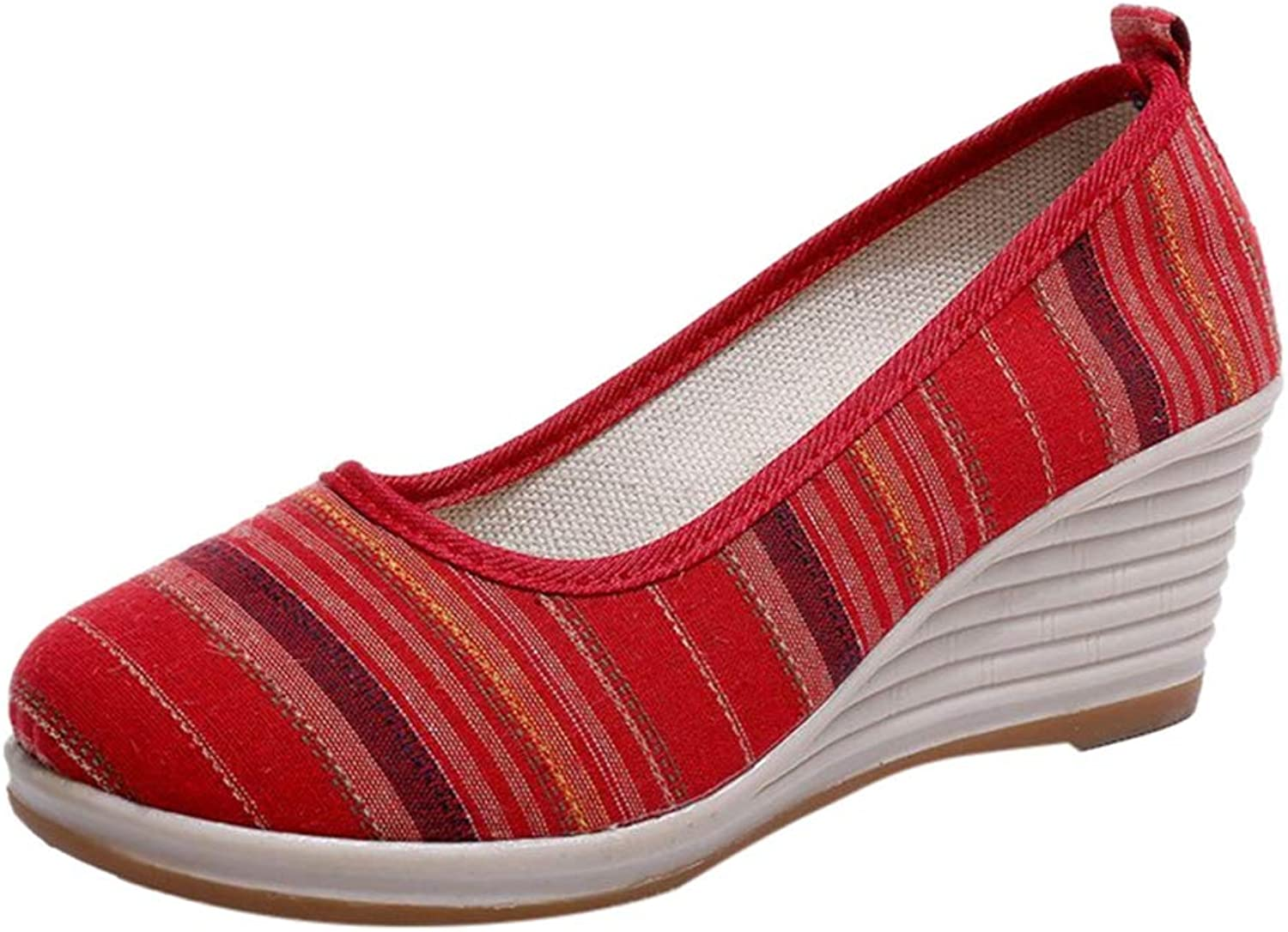 T-JULY Women Striped Round Toe Wedges Ethnic Style Loafers Casual Wedge Single Sneakers