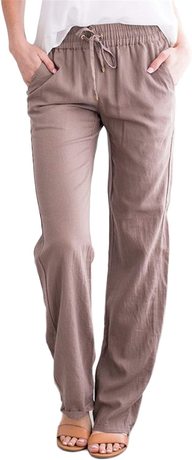 Andongnywell Women's Loose Fashion Casual Elastic Waist Drawstring Solid Color Linen Pants with Pockets Trousers