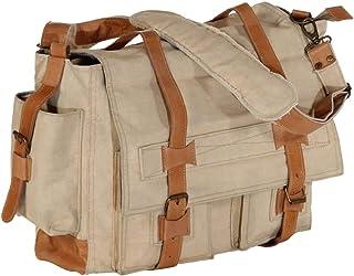 vidaXL Schultertasche Ledertasche Umhängetasche Einkaufstasche Kuriertasche Tragetasche Handtasche Tasche Beige 42x13x34,5cm Segeltuch Echtleder