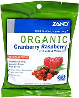 ZAND Organic Lozenges, with Zinc & Vitamin C, Cranberry Raspberry , 18-Count Bags (Pack of 12)
