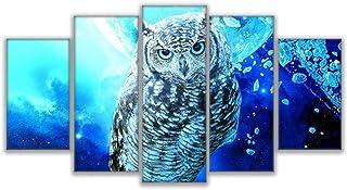 JFASJ 5 lienzos Pinturas en Lienzo Arte de Pared para Sala de Estar hogar Imágenes Decorativas 5 Piezas Imagen de búho Azul Impresiones en HD decoración del hogar Animal Poster