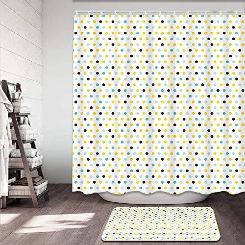 kThrones 2-teiliges Badvorleger-Set,Duschmatte+Duschvorhang,Polka Dots R&en Vintage Retro Themed Image Geometric,rutschfeste Badvorleger für Küche,Dusche & Toilette(150x180cm)