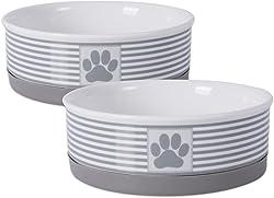 Bone Dry Paw Patch & Stripes Ceramic Pet Bowl