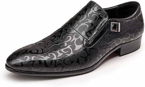 GLSHI Hommes Britanniques sculptés Affaires Occasionnels Chaussures Nouvelle Cravate avec des Chaussures de Mode européenne Hommes Chaussures de Mariage de la Mode (Couleur   Noir, Taille   41)