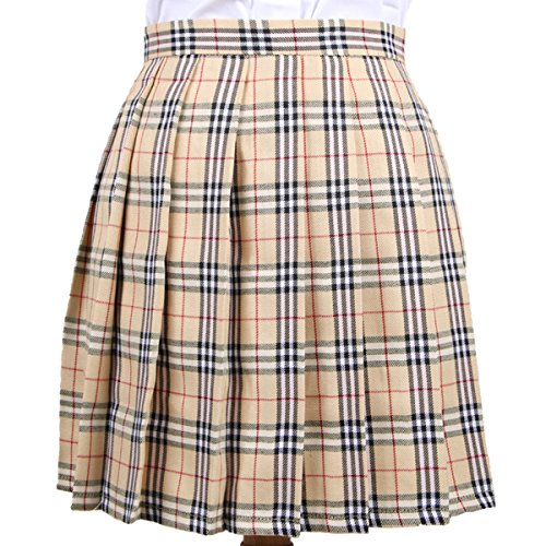 Cheerlife Mädchen Damen Faltenröcke Kariert Röcke Minirock kurz Skirt Schuluniform Cosplay Rock M Aprikose