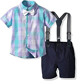 Joycebaby Toddler Boy Clothes, Baby Boys Plaid Shirt+Suspender Shorts Outfit