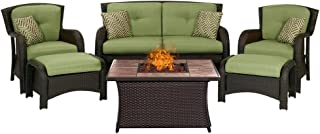 Hanover STRATH6PCFP-GRN-TN 6 Piece Strathmere Lounge Set Table Outdoor Furniture, Cilantro Green with Stone Top Fire Pit