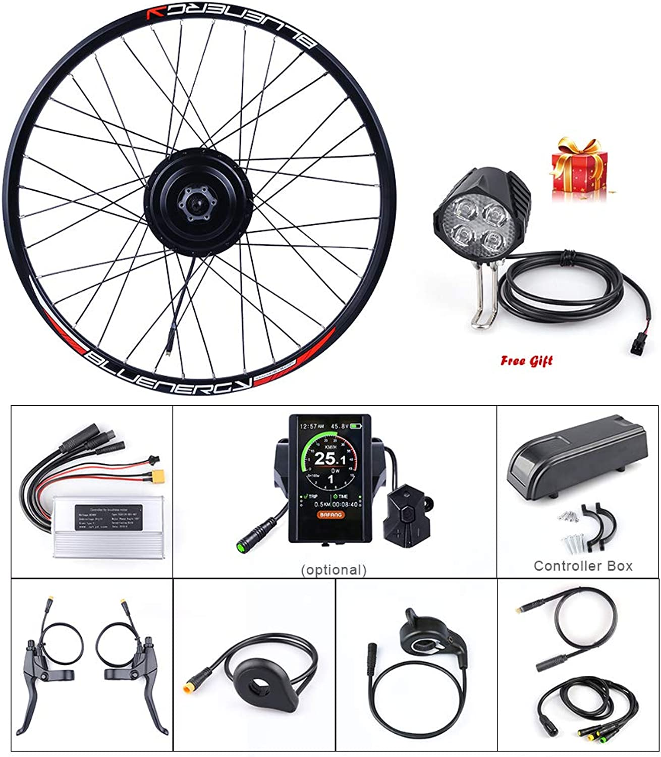 48V 500W Front Hub Motor Brushless Gear Bicycle Electric Bike Conversion Kit with LCD Display for 20 26 27.5 700c inch Wheel Drive Engine