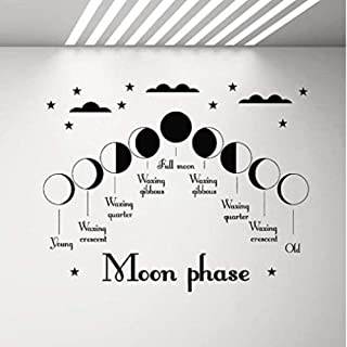Wall Sticker Moon Phase Vinyl Wall Decal Living Room Bedroom Home Decoration Moon Star Children's Art Stickers Decal Removable Home Wall Decor 72X57Cm