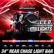 STV Motorsports Off-road Rear Chase LED Strobe Light Bar with Brake/Running Lights for Polaris RZR, Yamaha, Can-Am, UTV, Racing Vehicles (34 inch, RRBABARR)