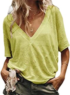 S-Fly Womens Plain Shirts Loose Casual Short Sleeve V Neck T-Shirts Top Blouse