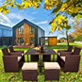 VINGLI 9 Pieces Rattan Patio Dining Set, Outdoor Space Saving Wicker Patio Dining Table and Chair Set with Glass Top and Soft Cushions, Patio Sectional Conversation Set