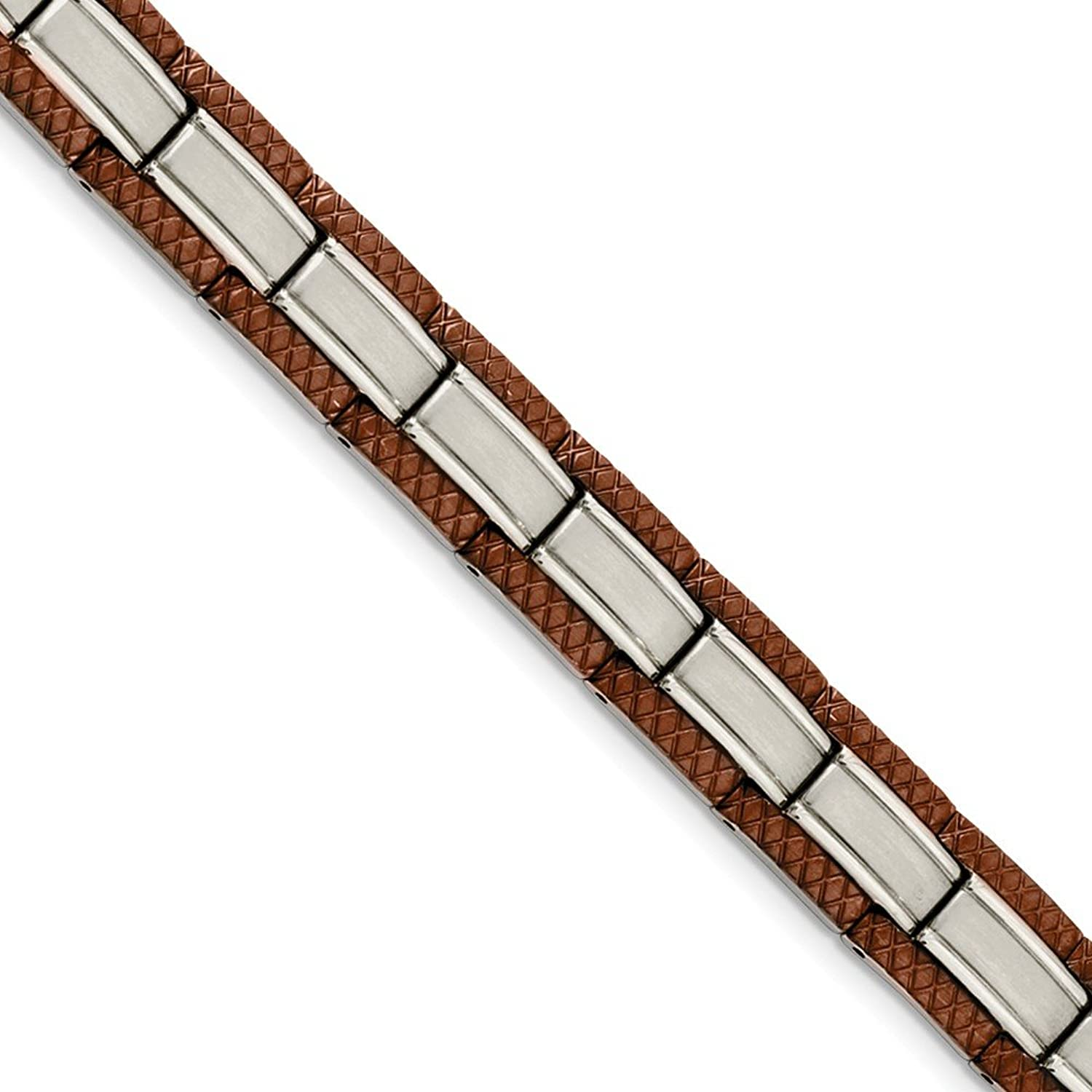 Beautiful Stainless Steel Brown IPPlated 8.75in Bracelet