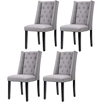 Amazon Com Fdw Dining Chairs Dining Room Chairs Kitchen Chairs For Living Room Side Chair For Restaurant Home Kitchen Living Room Set Of 4 Gray Grey Chairs