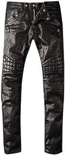 Men's Vintage Black Waxed Skinny Fit Biker Moto Wash Denim Trousers Jeans