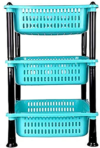JAYVIRU Rack Premium Plastic 3 Steps Kitchen Stand Rack Basket for Office Use Fruits Onion Potato Vegetables and Sabaji Basket Vegetable Stand Round 3 Tier Rack Color May Vary