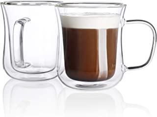 Sweese 4621 Double Wall Espresso Cups Glass Coffee Cups Insulated Cups for Tea Latte Cappuccino Espresso (7.5oz)