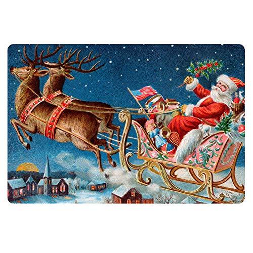 Christmas Door Mat Doormat Indoor Entrance Way Area Rug Bedroom Living Room Kitchen Anti-Slip Shoes Scraper Carpet Santa Claus Reindeer 16' X 24'