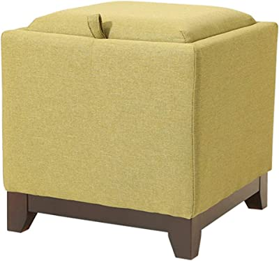 Fabric Storage Tray Top Ottoman,Square Cube Pouf Footrest Stool Solid Wood Tray Single Seat Saddle-Green 40x40x40cm(16x16x16)