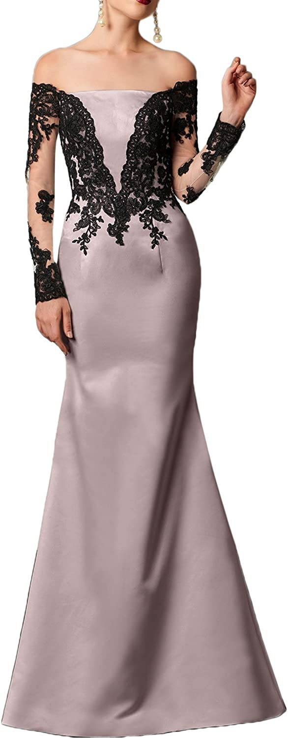 DINGZAN Satin and Lace Mermaid Mother of the Bride Dress with Long Sleeves