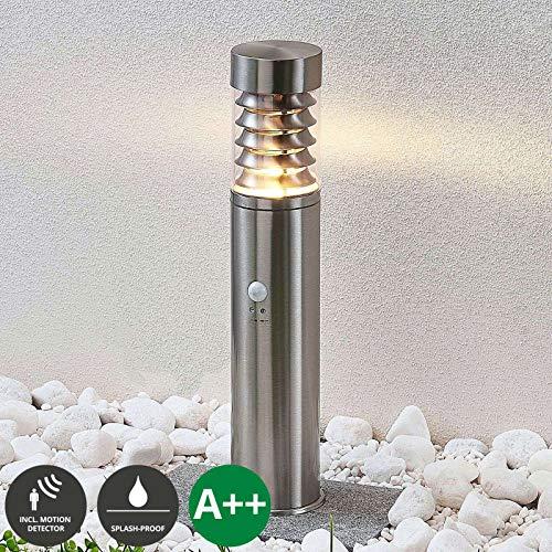 Lindby Außenleuchte 'Piper' mit Bewegungsmelder (spritzwassergeschützt) (Modern) in Alu aus Edelstahl (1 flammig, E14, A++) - Wegeleuchte, Pollerleuchte, Wegelampe, Sockelleuchte