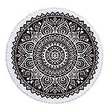 FEOYA - Manta de Mandala de Microfibra para Vacación Viajes Toalla de Playa Redonda de Secado Rápido Tapiz de Pared Grande con Borlas para Decorar Hogar 150 * 150cm - Negro
