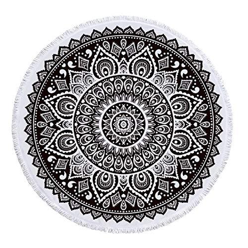 FEOYA - Verano Manta de Mandala Multiusos para Piscina Picnic Yoga Toalla de Playa Redonda para Decoración de Pared Hogar Tapiz de Pared Grande con Borlas 150 * 150cm - Negro