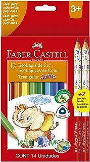 Lápis de Cor Ecolápis Triangular Jumbo 12 Cores + 2 Lápis Jumbo 2B, Faber-Castell